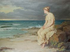 In this painting, Miranda is shown sitting on a rock besides the water,on her island. As you can see, her clothing is rather simple. Her dress is flowing and thin. She has a ribbon or some sort of headpiece in her hair. This was my main inspiration for her costume design.