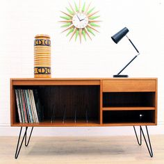 VINTAGE TEAK G PLAN SIDEBOARD/RECORD STORAGE/INDUSTRIAL on HAIRPIN LEGS