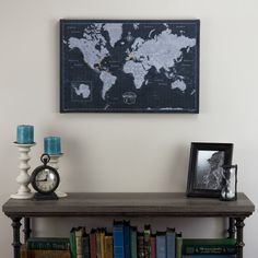 World Travel Map 24x16 Modern Slate Cork Pin by ConquestMaps