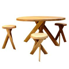 Dining Table with Six (6) Stools by Pierre Chapo France, 1970's