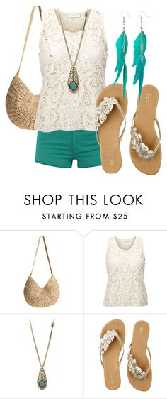 """""""Statement of Teal"""" by huiwenzheng ❤ liked on Polyvore featuring Flora Bella, SELECTED, Wildfox, Oasis, Louche, lace, feather earrings, lace shirt, teal and shorts"""