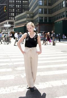 Black tie top + high-waisted trousers x Plan de Ville Outfit great for business casual | Who Wore What | http://skirttheceiling.com