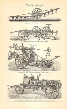 1904 Original grabado antiguo de labranza motores Motor