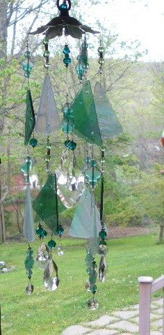 glass wind chime sun catcher stained glass, sea breeze