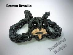 ▶ Rainbow Loom Tutorial : Batman Action Figure Bracelet - How to make using a single loom - YouTube