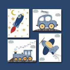 Auto aereo razzo treno Baby Boy Nursery Decor di artbynataera