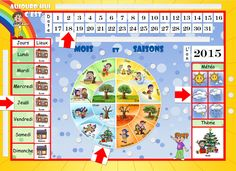 French Classroom Decor, Montessori, Autism Apps, Season Calendar, Teaching French, Learn French, Educational Activities, Diy For Kids, Kindergarten