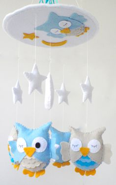"Baby Crib Mobile - Baby Mobile - Nursery Crib Mobile - Turquoise and Beige Owl Mobile ""Sleeping Owls"". $90.00, via Etsy."