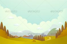 Hill and villages by Qiun | GraphicRiver