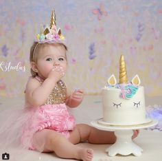 Dream big and always be a unicorn! Cake smash babe wears our Belle Fleur Sparkle Romper! 1st Birthday Cake Smash, Girl First Birthday, Unicorn Birthday Parties, Unicorn Party, Baby Birthday, First Birthday Parties, Birthday Ideas, Rainbow Unicorn, Unicorn Eyes