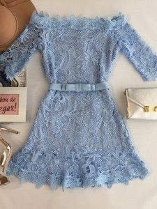 Blue lace dress with some nice accessories Girly Outfits, Dress Outfits, Casual Outfits, Cute Outfits, 80s Fashion, Girl Fashion, Fashion Dresses, Womens Fashion, Korean Fashion