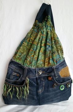 Handmade Up-cycled Jean Backpack Purse #Handmade #BackpackStyle