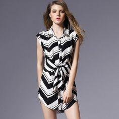 New Arrival Striped Slip Turn-down Collar Beading Silk Dress