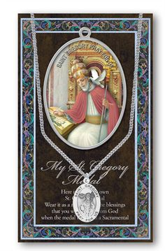 ++SAINT GREGORY Genuine Pewter Medal With Stainless Chain & Prayer Card w Copyrighted Paul Herbert Blessing PATRONA Series. SAINT GREGORY 1.125. Fine Italian Art Hand Made In USA. Genuine Pewter With Exclusive Copyrighted Paul Herbert Blessing. Excellent Gift of for Personal use Exclusive Copyrighted Paul Herbert Blessing Included. Prayer Card And Story Add Tremendous Meaning To the Metal.