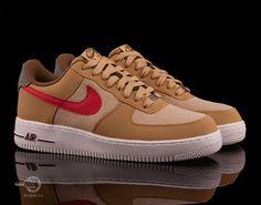 Обувь : Кроссовки Nike Air Force 1 Low (песочный/белый/красный)