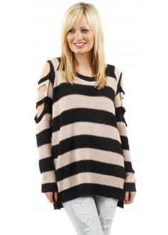 Bo-Peep Pink Stripe Knit Open Sleeve Slouch Jumper