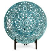 "Found it at Wayfair - Lopez Floral Pierced Charger with Iron Stand, $87. SKU #: IMX4140, size 18.5"" D"