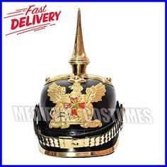 Medieval german #spiked ww1 & ww2 pickelhaube #leather helmet #brass belt and eag,  View more on the LINK: http://www.zeppy.io/product/gb/2/262510275481/