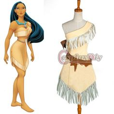 Custom Made Pocahontas Indian Princess Dress Costume Cosplay  Department Name:Adult;Gender:Women  Material:Polyester;Fabric Type:Satin  Sleeve Len