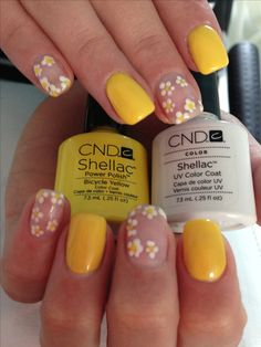 23 Great Yellow Nail Art Designs 2019 - Sunny Yellow Nails - Best Nail World Shellac Nail Designs, Shellac Nail Art, Nail Art Designs, Cnd Shellac Nails Summer, Bright Summer Gel Nails, Shellac Toes, Nail Polish, Nail Nail, Acrylic Nails