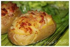 Pommes de terre farcies au chèvre et aux lardons