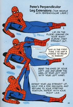 """Peter's Perpendicular Leg Extensions"" from The Mighty Marvel Comics Strength and Fitness Book"