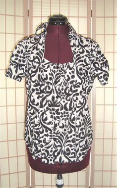 Cute Cato Sz M Black & White Anthemion Print Cotton Stretch Button Front Shirt  #Cato #ButtonDownShirt