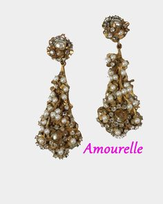Vintage Amourelle Chandelier Earrings Pearls Rhinestones Russian Gold Filigree Designer Signed Rare Austrian Crystals Rose Montee by LinsyJsJewels on Etsy
