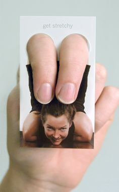 I found this pretty cool yoga business card. It turns your fingers into thighs. This is a very unique card. It is simple but to the point. It had my attention right away compared to the other business cards around Die Cut Business Cards, Unique Business Cards, Business Ideas, Guerilla Marketing, Marketing Ideas, Direct Marketing, Logo Design, Graphic Design, Ci Design