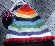 stripy elf hat with pom pom in Jo Sharp worsted weight wool