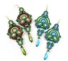 Long Soutache Earrings / green knaki peach /