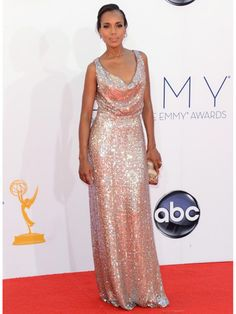 Shimmering in champagne, this Scandal actress brings it! #KerryWashington #Emmys2012 #BestDressed2012