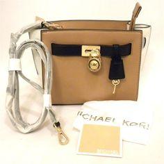 ac4531a092c3 Michael Kors Hamilton Traveler Messenger Suntan White Black Leather Sm8 for  sale online | eBay