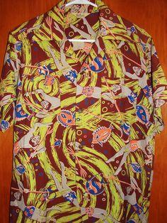 Kiilani - 50's Spear Fishermen Rayon Vintage Aloha Shirt - TheHanaShirtCo