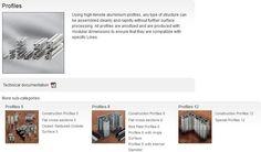 Catálogo,grupos de produtos,MB,sistema de perfis,modularidade,equipamentos, perfis de alumínio,Ligadores,sistemas de postos de trabalho, categorias