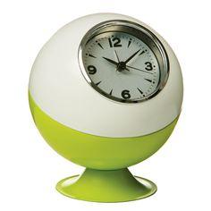 Premier Housewares Retro Ball Table Clock, Lime Green/ White