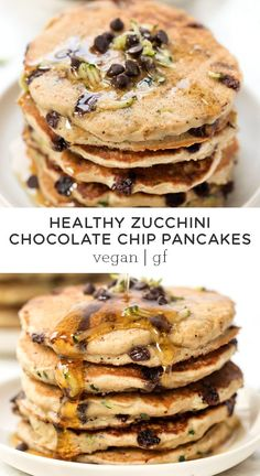 These healthy Zucchini Chocolate Chip Pancakes are the best sweet breakfast treat! Made with wholesome flours, packed with fiber and the best fluffy texture! Easy homemade recipe that is vegan and gluten free and kids love it too! Gluten Free Pancakes, Vegan Pancakes, Zucchini Pancakes, Homemade Pancakes, Pancakes Easy, Vegan Keto, Paleo, Gourmet Recipes, Vegan Recipes