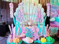 Mermaid Birthday Party Decorations Diy, Ocean Party Decorations, Mermaid Parties, Kids Party Themes, Birthday Party Themes, Baby Girl Birthday Theme, Little Mermaid Birthday, Coffee Holder, Shower