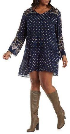 Plus Size Boho Shift Dress
