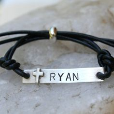 Items similar to Cross - Sterling Silver and Leather ID Bracelet - Communion/Confirmation/Unisex on Etsy Morse Code Example, Boys First Communion, Communion Gifts, Tin Gifts, Id Bracelets, Religious Gifts, Sterling Silver Cross, Silver Bars, Anniversary Gifts