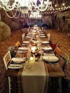 The Table! A Beautiful night!  Gorgious setting.g for a farm to table dinner!