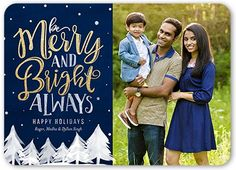 Winter Woods Holiday Card, Rounded Corners, Blue