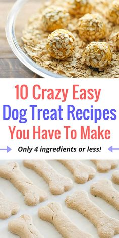 These easy dog treat recipes come together in a matter of minutes and only require four ingredients or less! Get inspired with 10 easy recipes. Puppy Treats, Diy Dog Treats, Healthy Dog Treats, No Bake Dog Treats, Peanut Butter Dog Treats, Homemade Dog Cookies, Homemade Dog Food, Homemade Dog Biscuits, Homemade Toys