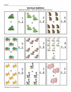 FREE worksheets, create your own worksheets, games. Fun Worksheets For Kids, Addition Worksheets, Kindergarten Math Worksheets, Free Worksheets, Addition And Subtraction Practice, Create Your Own, Make It Yourself, Games, Addition And Subtraction