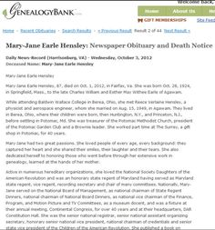 "Obituary for Mary-Jane Earle Hensley, published in the Daily News Record newspaper (Harrisonburg, Virginia), 3 October 2012. Read more on the GenealogyBank blog: ""Researching Recent Obituaries for All My 'Mayflower' Cousins."" http://blog.genealogybank.com/researching-recent-obituaries-for-all-my-mayflower-cousins.html"