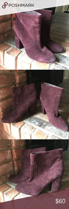 "Joes' Fia ankle booties Wine/burgundy rich suede booties. Approx 3.5"" heel, 6"" shaft, 13"" circumference. Preloved but in great shape! Normal distressing on the suede. Joe's Jeans Shoes Ankle Boots & Booties"