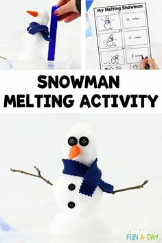 The kids can explore math and science concepts with this melting snowman that uses real snow. A must-do addition to your winter activities for preschoolers. You can grab a copy of the recording sheet at the very bottom of this post, too! Early Learning Activities, Science Activities For Kids, Cool Science Experiments, Preschool Science, Winter Activities, Preschool Teacher Tips, Me Preschool Theme, Preschool Lesson Plans, Preschool Ideas