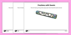 Year 3/Year 4 Differentiated Fractions with Sweets Activity Sheet - Fractions, fractions of groups, fraction of a group, fraction of an amount, fraction of a number, unit fraction, fraction of a set, Smarties, worksheet, Year 4