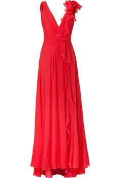 Geranium Silk Chiffon Gown by Jenny Packham