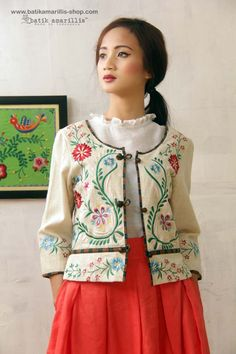 Batik Amarillis's Hedvig Jacket  ...inspired by Fabulous vintage traditional Polish waistcoat with rich,meticulous,colorful and intricate vintage embroidery style from Sweden combined with Indonesia's traditional textiles such as Batik and ikat